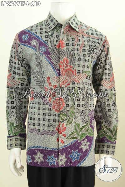 Contoh Baju Batik Pria Lengan Panjang Warna Silver dan Ungu