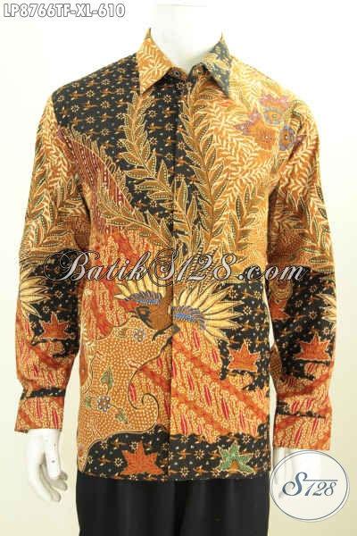 Jual Baju Batik Online Masa Kini, Sedia Kemeja Batik Solo Jawa Tengah Mewah Full Furing Model Lengan Panjang Bahan Adem Motif Tulis Asli Hanya 600 Ribuan, Size XL