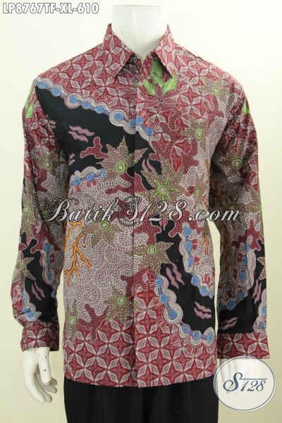 Kemeja Lengan Panjang Premium, Baju Batik Kerja Istimewa Full Furing Motif Mewah Tulis Asli Harga 610K Buatan Solo [LP8767TF-XL]