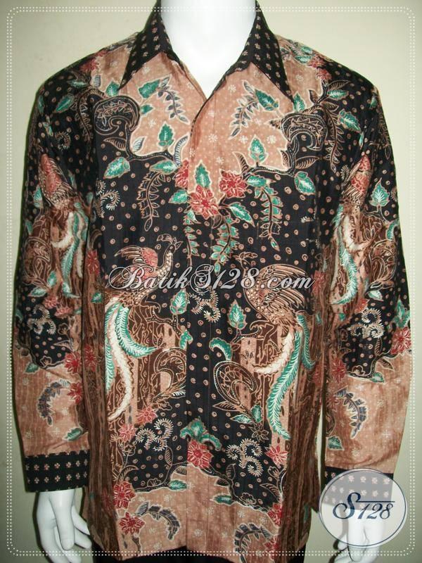 Batik Sutra Modern Pria Lengan Panjang Pakai Furing, Batik Tulis, Untuk Pejabat Dan Pengusaha Sukses [LP882SUMTF-L]