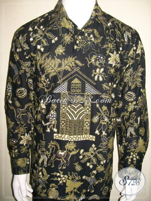 Batik Kumpeni, Kemeja Batik Lengan Panjang Pria Size L Keren, Batik Kompeni
