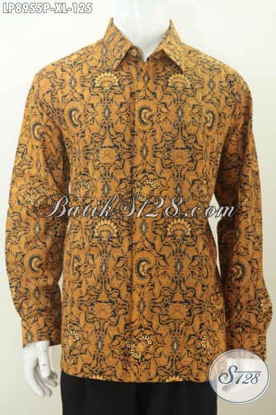 Baju Batik Lengan Panjang Size XL, Kemeja Pria Terkini Motif Klasik Proses Printing Hanya 125, Tampil Gagah Berwibawa [LP8955P-XL]