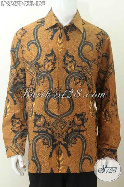 Baju Batik Hem Istimewa Lengan Panjang Halus Proses Printing, Spesial Untuk Pria Gemuk Motif Klasik, Tampil Lebih Berwibawa [LP8957P-XXL]
