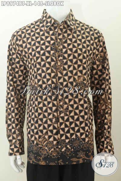 Model Baju Batik Pria Lengan Panjang Modern Dengan Motif Slobok, Pakaian Batik Solo Kombinasi Tulis, Pas Untuk Acara Resmi [LP8974BT-XL]