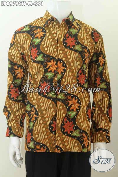 Jual Baju Batik Pria Lengan Panjang Kwalitas Premium, Kemeja Batik Full Furing Motif KLasik Proses Cap Tulis 300 Ribuan [LP8979CTF-M]
