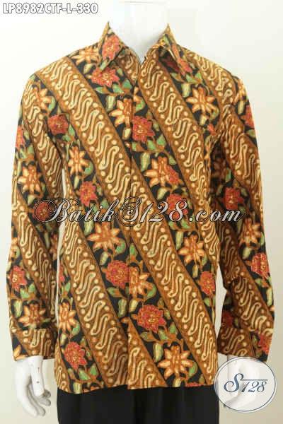Batik Hem Parang Bunga Nan Istimewa, Pakaian Batik Cap Tulis Lengan Panjang Full Furing Harga 330K [LP8982CTF-L]