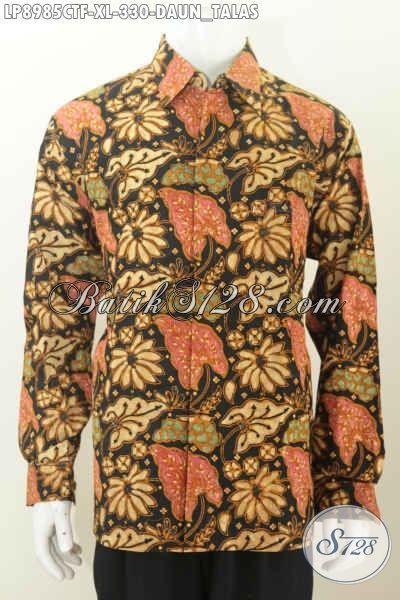Batik Hem Pria Proses Cap Tulis, Busana Batik Motif Daun Talas Elegan Mewah Full Furing Lengan Panjang, Tampil Lebih Gagah Dan Menawan [LP8985CTF-XL]