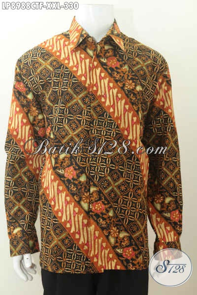 Batik Hem Halus Mewah Lengan Panjang Motif Klasi, Baju Batik Kerja Pria Gemuk Full Furing Proses Cap Tulis Harga 330K [LP8988CTF-XXL]