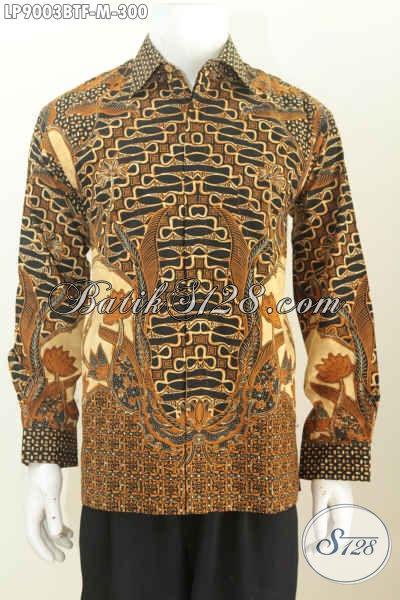 Batik Hem Solo Terbaru, Busana Batik Mewah Full Furing Lengan Panjang Motif Klasik Kombinasi Tulis, Pria Tampil Macho Dan Tampan [LP9003BTF-M]