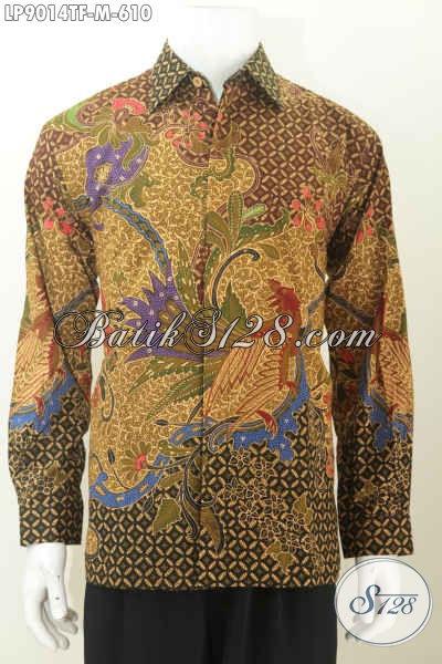 Kemeja Batik Mahal, Hem Batikl Pejabat, Busana Batik Solo Premium Motif Tulis Asli Daleman Full Furing 600 Ribuan [LP9014TF-M]