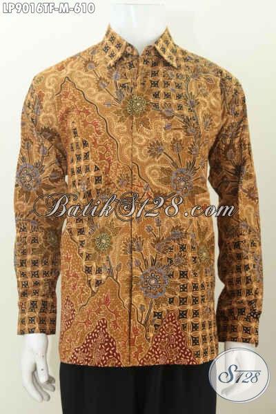 Baju Batik Kerja Premium Motif Tulis, Pakaian Batik Berkelas Dan Mewah Lengan Panjang Pake Furing 600 Ribuan [LP9016TF-M]