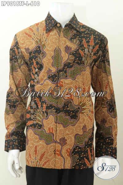 Produk Terbaru Baju Batik Solo Mewah Motif Klasik Tulis Asli, Kemeja Batik Lengan Panjang Full Furing, Pas Banget Buat Rapat [LP9018TF-L]
