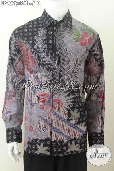 Pakaian Batik Pria Dewasa Lengan Panjang Halus Full Furing Buatan Solo Asli, Kemeja Batik Premium Proses Tulis 610K [LP9023TF-XL]