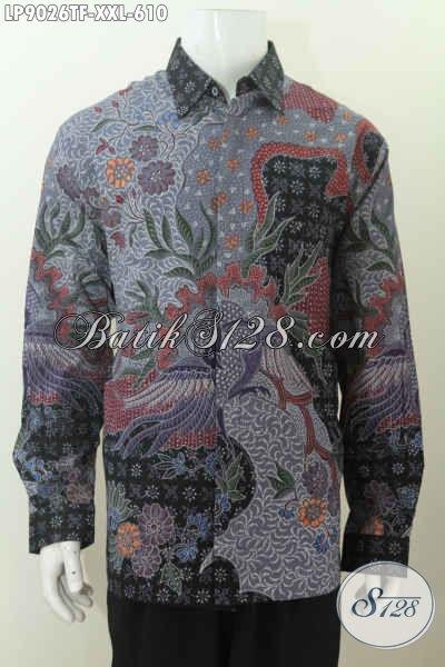 Produk Baju Batk Premium Big Size, Busana Batik Pejabat Dengan Badan Gemuk, Bahan Halus Motif Klasik Tulis Lengan Panjang Full Furing [LP9026TF-XXL]