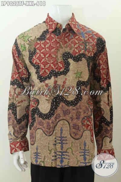Sedia Kemeja Batik Mewah 600 Ribuan Desain Berkelas Khas Pejabat, Pakaian Batik Istimewa Proses Tulis Model Lengan Panjang Pake Furing, Size XXL