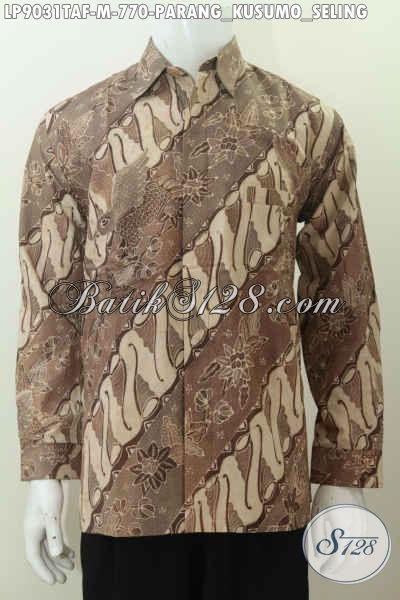 Batik Hem Klasik Parang Kusumo, Baju Batik Full Furing Istimewa Lengan Panjang Proses Tulis Warna Alam, Tampil Gagah Dan Tampan [LP9031TAF-M]