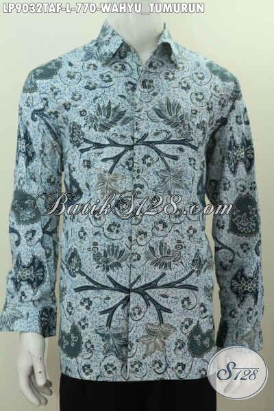Baju Batik Pria Lengan Panjang Modern Motif Klasik Wahyu Tumurun, Kemeja Batik Solo Premium Full Furing Proses Tulis Warna Alam 700 Ribuan [LP9032TAF-L]