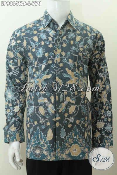 Desain Baju Batik Kerja Pejabat 2017, Baju Batik Mewah Berkelas Motif Klasik Proses Tulis Warna Alam Lengan Panjang Pakai Furing Harga 770K [LP9034TAF-L]