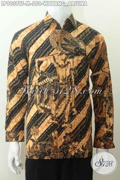 Batik Batik Hem Istimewa Motif Wayang Arjuna, Baju Batik Desain Berkelas Dan Mewah Harga 550K, Tampil Makin Gagah [LP9039TF-M]
