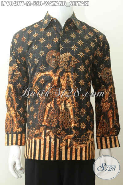 Model Baju Batik Kerja Lengan Panjang Mewah Motif Wayang Setyaki, Busana Batik Premium Untuk Pria Muda Terlihat Tampan Proses Tulis Full Furing [LP9040TF-M]