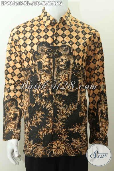 Koleksi Terini Hem Batik Solo Mewah, Pakaian Batik Full Furing Motif Wayang Halus Proses Tulis, Bisa Untuk Rapat Dan Kondangan [LP9046TF-XL]