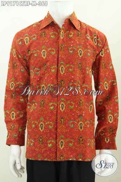 Hem Batik Elegan Lengan Panjang Full Furing, Baju Batik Modis Halus Kwalitas Istimewa Untuk Tampil Gagah, Size M