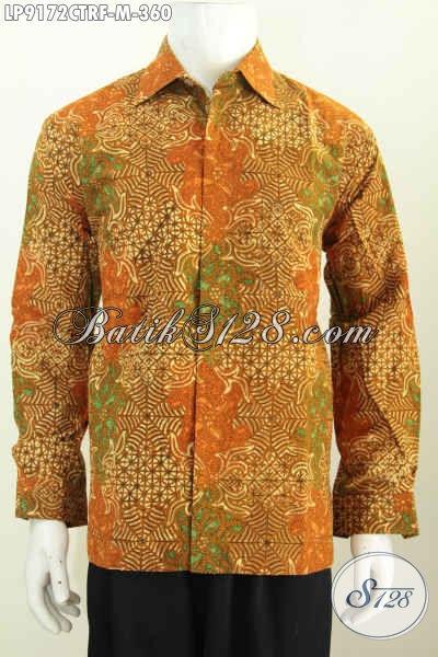 Hem Batik Kwalitas Premium, Kemeja Lengan Panjang Formal Cocok Buat Rapat, Bahan Adem Proses Cap Tulis Daleman Full Furing Harga 185K, Size M