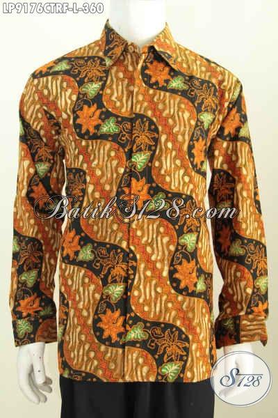 Koleksi Baju Batik Pria Terbaru, Hem Batik Lengan Pajang Istimewa Pake Furing Motif Klasik Cap Tulis Harga 360 Ribu [LP9176CTRF-L]