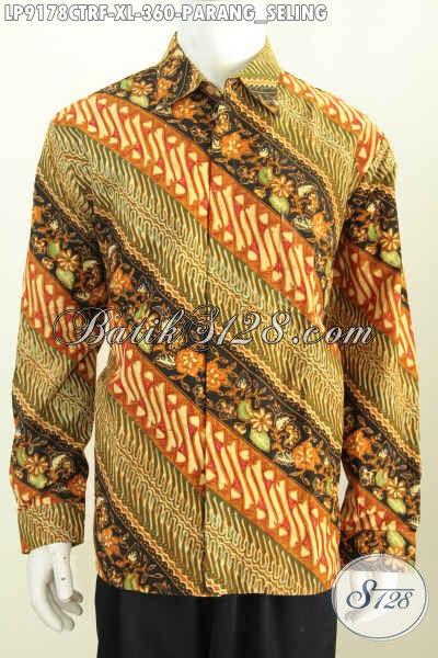 Batik Hem Elegan Motif Parang Seling, Baju Batik Klasik Untuk Rapat Dan Kondangan Full Furing Lengan Panjang, Tampil Lebih Menawan [LP9178CTRF-XL]