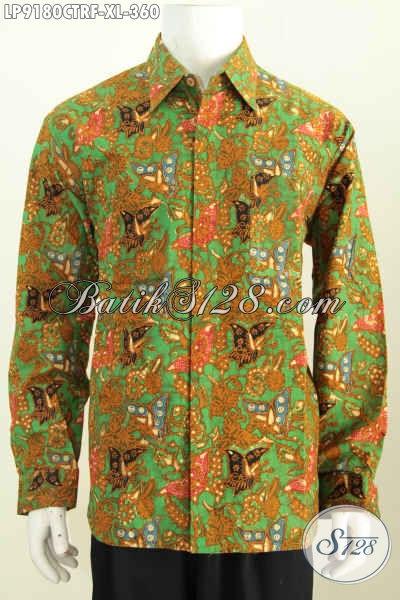 Mdoel Baju Batik Modern Untuk Pria Denagn Dengan Motif Klasik, Pakaian Batik Lengan Panjang Full Furing Proses Cap Tulis Harga 360K [LP9180CTRF-XL]