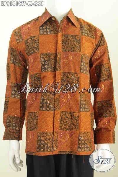 Hem Batik  Elegan Size M, Baju Batik Pria Muda Full Furing Model Lengan Panjang Motif Bagus Cap Tulis 330 Ribu Saja