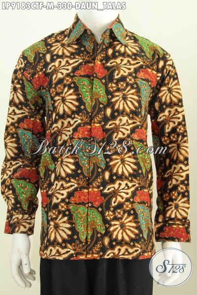 Kemeja Batik Kwalitas Premium, Hem Batik Solo Lengan Panjang Full Furing Motif Daun Talas Proses Cap Tulis, Tampil Lebih Elegan [LP9183CTF-M]