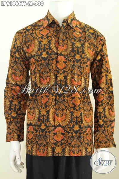 Sedia Kemeja Lengan Panjang Batik Klasik Solo Asli, Pakaian Berkelas Daleman Full Furing, Pria Tampil Menawan Berwibawa [LP9186CTF-M]