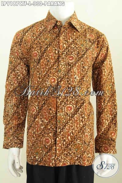 Hem Batik Bagus Mewah Lengan Panjang Full Furing, Pakaian Batik Solo Klasik Motif Parang Cap Tulis, Pas Untuk Acara Resmi, Size L