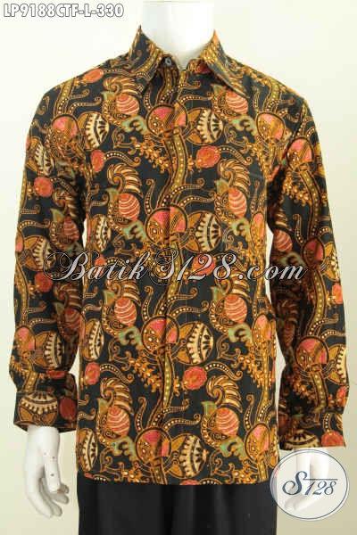 Jual Online Kemeja Batik Klasik Istimewa, Hem Batik Full Furing Lengan Panjang Berkelas Motif Proses Cap Tulis, Penampilan Lebih Gagah [LP9188CTF-L]