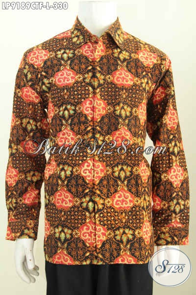 Batik Hem Solo Halus Lengan Panjang Seragam Kerja Mewah Pakai Furing Motif Klasik Cap Tulis, Di Jual Online Harga 330K [LP9189CTF-L]