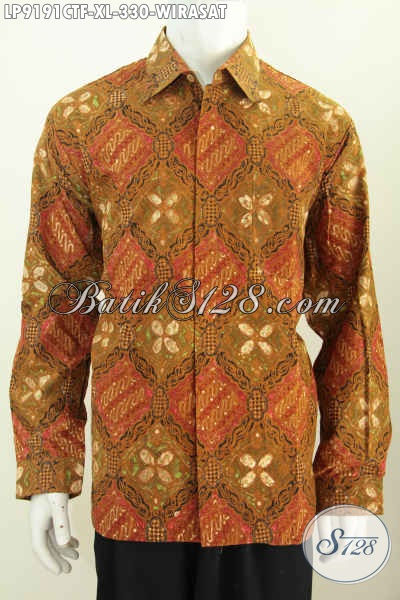 Pusat Pakaian Batik Pria Terlengkap, Jual Online Hem Lengan Panjang Klasik Motif Wirasat Proses Cap Tulis Harga 330K [LP9191CTF-XL]