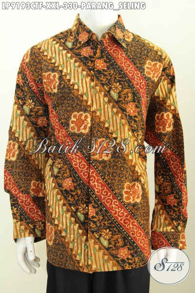 Jual Baju Batik Big Size Lengan Panjang, Hem Batik Solo Istimewa Full Furing Halus Motif Parang Seling Cap Tulis 330 Ribu [LP9193CTF-XXL]