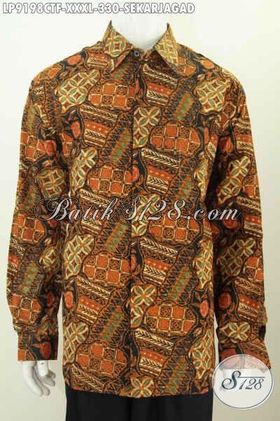 Batik Hem Kerja Mewah Full Furing Harga Terjangkau, Pakaian Batik Klasik Cap Tulis Motif Sekarjagad Lengan Panjang, Pas Buat Acara Resmi [LP9198CTF-XXXL]