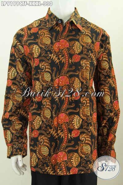 Batik Hem 4L Lengan Panjang Pria Gemuk Sekali, Pakaian Batik Klasik Full Furing Buatan Solo Proses Cap Tulis Harga 330K [LP9199CTF-XXXL]