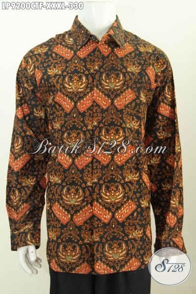 Baju Batik Hem Solo Lengan Panjang Klasik, Pakaian Kerja Full Furing Tampil Terlihat Mewah, Exclusive Buat Lelaki Gemuk XXXL [LP9200CTF-XXXL]