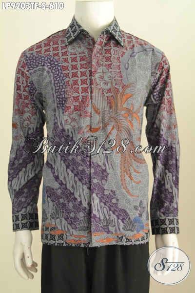 Batik Hem Solo Mewah Lengan Panjang, Baju Batik Pejabat Premium Full Furing Harga 610, Tampil Gagah Berwibawa [LP9203TF-S]