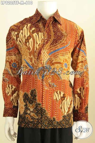 Motif Baju Batik Lengan Panjang Pria Terkini Lebih Mewah Dan Berkelas, Baju Batik Tulis Solo Full Furing, Tampil Gagah Bak Pejabat [LP9205TF-M]