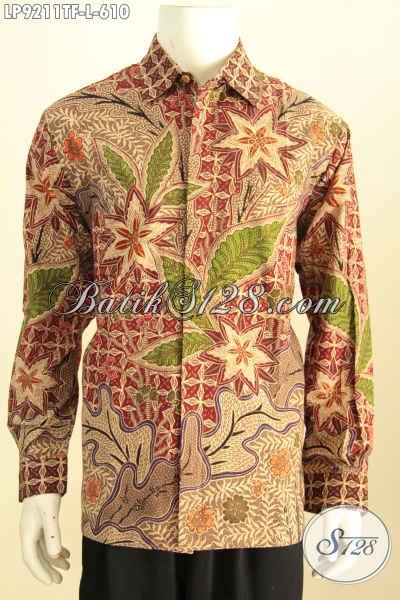 Hem Batik Solo Elegan, Kemeja Batik Jawa Etnik Istimewa Proses Tulis Lengan Panjang Full Furing, Penampilan Gagah Mempesona, Size L
