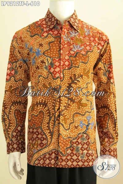 Pakaian Batik Elegan Mewah Pria Sukses, Baju Batik Premium Untuk Pria Size L Motif Klasik Proses Tulis Lengan Panjang Pake Furing [LP9212TF-L]