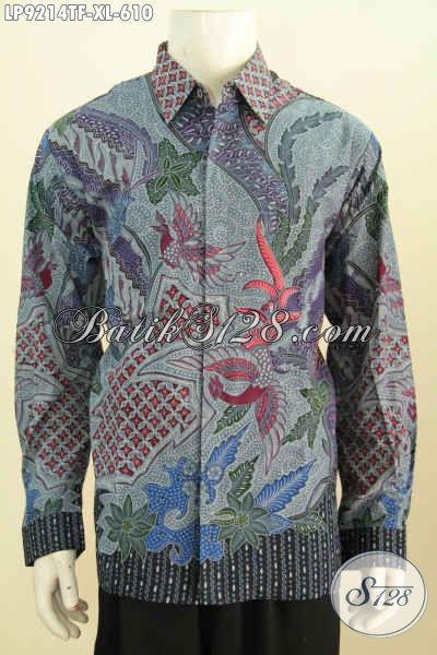 Bjau Batik Pria Dewasa Mewah, Kemeja Batik Solo Premium Untuk Penampilan Lebih Gagah Bahan Halus Proses Tulis Motif Klasik 600 Ribuan