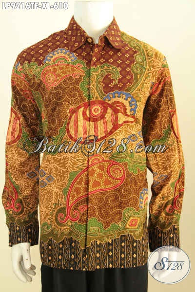 Hem Batik Kerja Lengan Panjang Klasik, Kemeja Batik Tulis Premium Kesukaan Eksekutif Dan Pejabat Untuk Penampilan Lebih Sempurna [LP9216TF-XL]