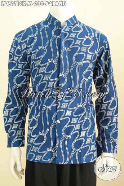 Hem Koko Kerah Shanghai Warna Biru Motif Parang, Kemeja Batik Klasik Elegan Proses Cap Model Lengan Panjang, Pas Untuk Acara Resmi [LP9221CK-M]