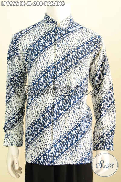 Jual Hem Koko Lengan Panjang Non Furing, Pakaian Batik Istimewa Motif Parang Kerah Shanghai, Pas Untuk Acara Resmi, Size M
