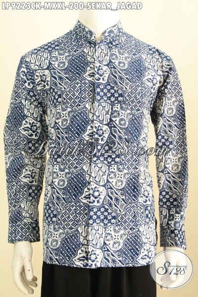Hem Batik Koko Motif Klasik, Kemeja Batik Istimewa Lengan Panjang Proses Cap, Tampil Modis Dan Bergaya [LP9223CK-M , XXL]